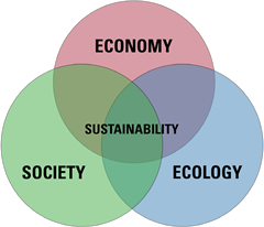 Venn Diagram of the sustainability model - see description above.