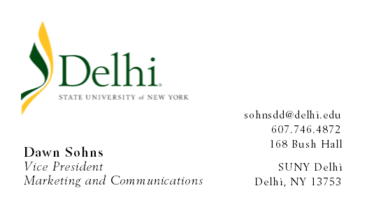 Image of SUNY Delhi Business Card