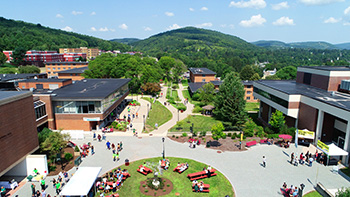 Aerial view of the center of campus.