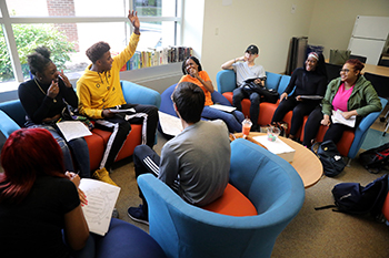 Group of students gathered in MOSAIC Multicultural Center