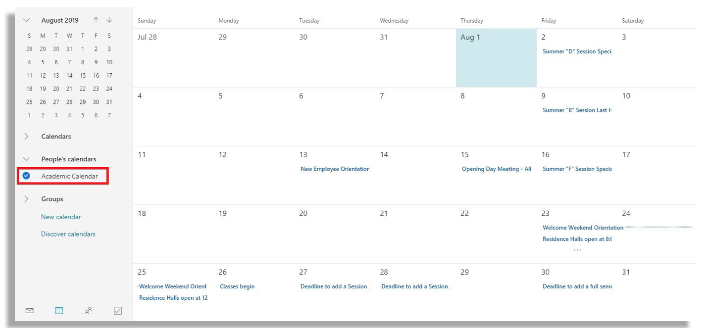 "Month view of calendar with red box around ""Academic Calendar"" on left side panel."