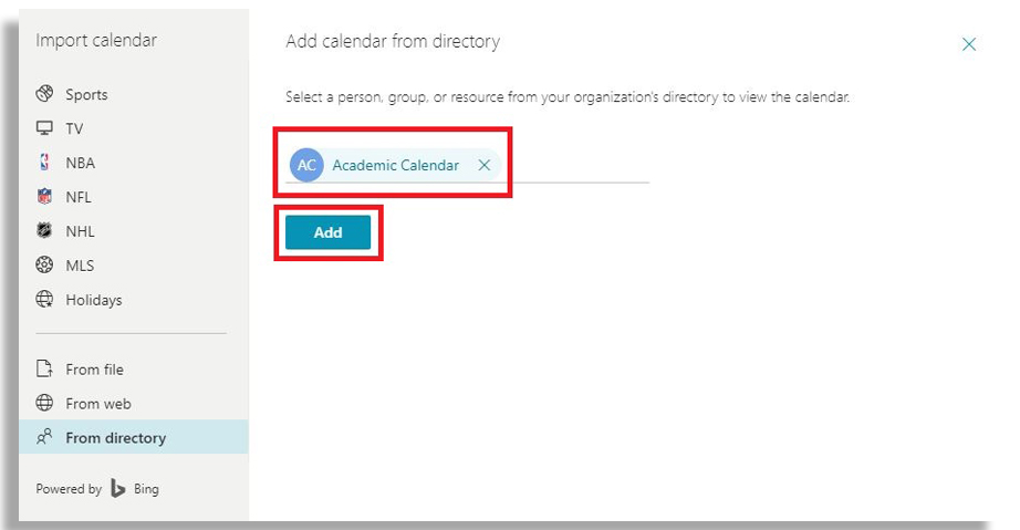 "Red box around ""Academic Calendar"" email address and ""Add"" button just below."