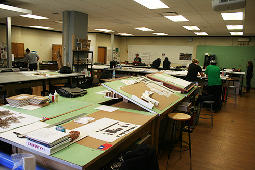 Students working in a drafting lab