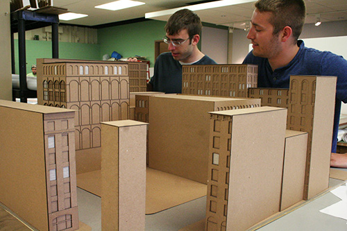 Students building a model