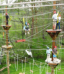 Students Study on a Ropes Course