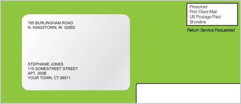 Green refund envelope you will receive