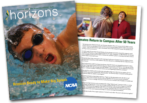 Horizons Alumni Magazine Cover of swimmer