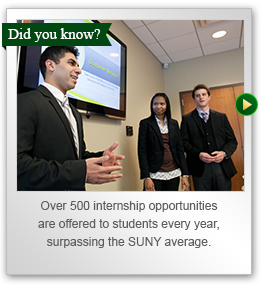 Over five hundred internship opportunities are offered to students every year, surpassing the SUNY average.