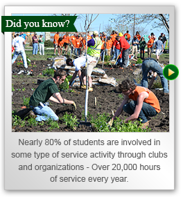Nearly 80 percent of students are involved in some type of service activity through clubs and organizations ? Over 20,000 hours of service annually.