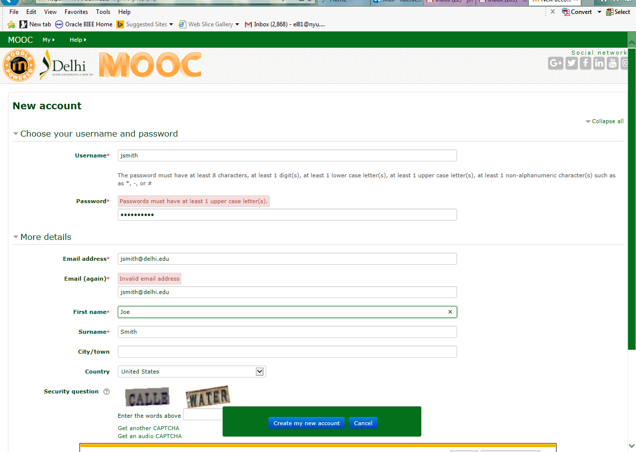 5. Once you have completed the form, click the Create my new account button at the bottom of the window.